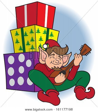 Christmas elf taking a break and doing a little strumming