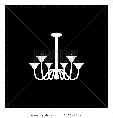 Chandelier Simple Sign. Black Patch On White Background. Isolate
