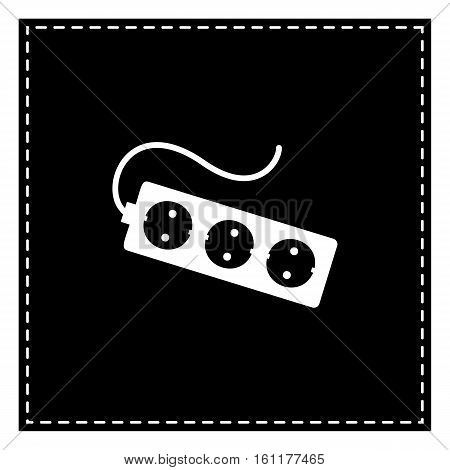 Electric Extension Plug Sign. Black Patch On White Background. I