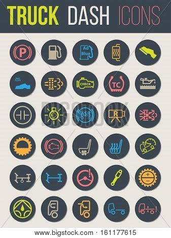 Colorful icon set of thirty for truck dashboards