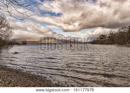 View of loch Lomond near Balloch in Scotland.