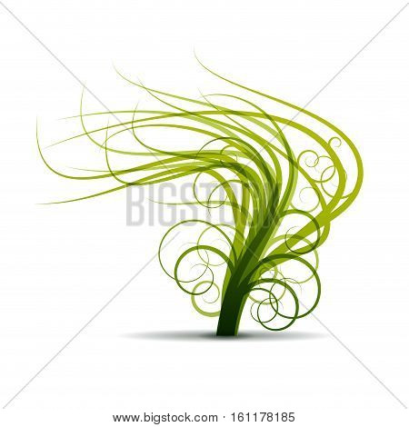 Vector sign abstract tree shaken by the wind