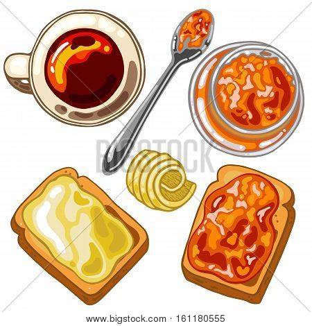 Set with breakfast food: toast bread jam and butter vector illustration