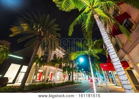 Palms in Rodeo Drive at night California