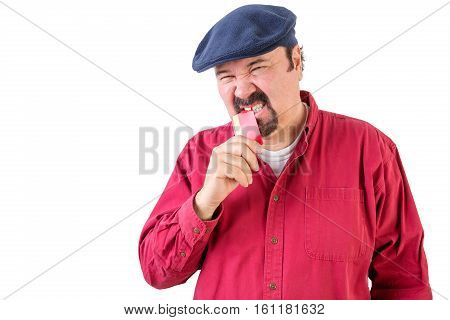Frustrated Angry Man Biting His Credit Card