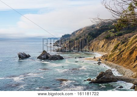 Rocky coast in Big Sur in California