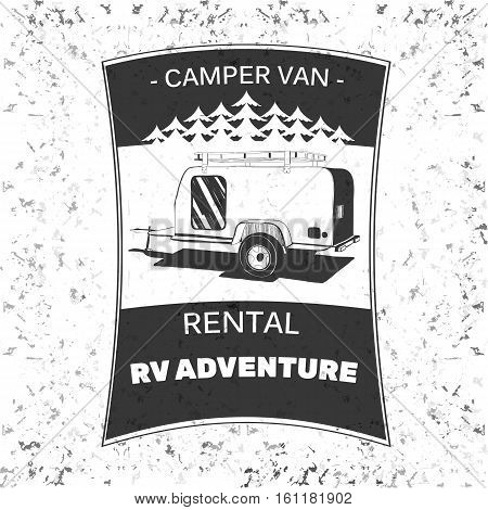 Vector illustration of vintage camping and outdoor adventure emblems, logos and badges. Camping equipment. Camp trailer in the forest.