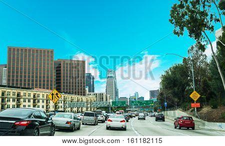 Traffic in 110 freeway in Los Angeles California