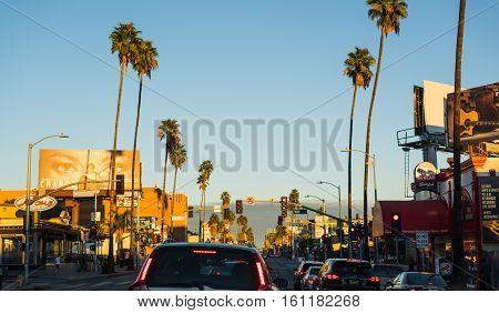 LOS ANGELES CALIFORNIA - OCTOBER 27 2016: Traffic jam in Sunset boulevard