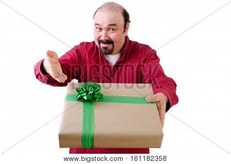 Smiling Man Handing Over A Large Gift Box