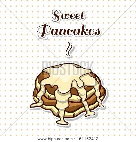 Hand drawn sticker. Cartoon stack of pancakes with condensed milk. Series of pancakes with various ingredients. Vector illustration