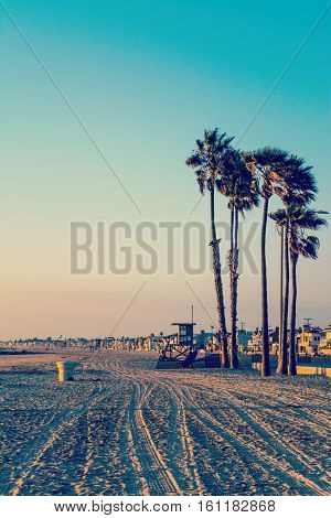 Sunset in Newport Beach in vintage tone California