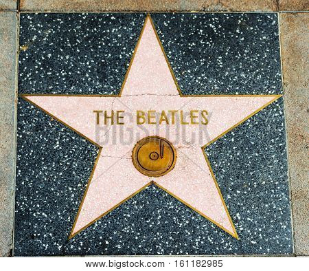 LOS ANGELES CALIFORNIA - NOVEMBER 2 2016: Beatles star in Hollywood walk of fame