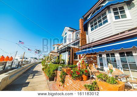 Beautiful houses in Newport Beach in California