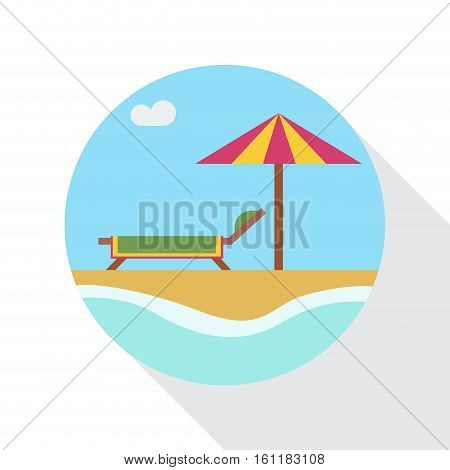 Vector sign parasol and deckchairs on the beach flat design