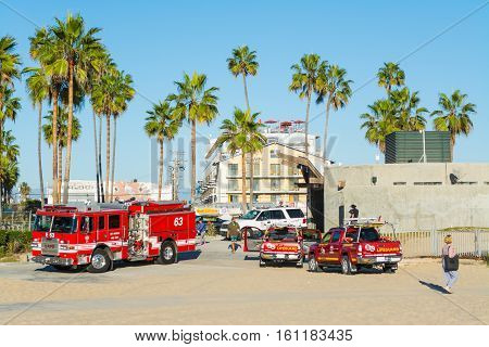 LOS ANGELES CALIFORNIA - NOVEMBER 3 2016: Firetruck and lifeguard trucks in Venice beach California