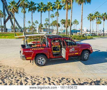 LOS ANGELES CALIFORNIA - NOVEMBER 3 2016: Lifeguard truck in Venice beach California
