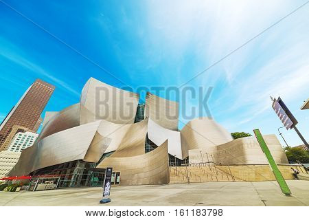 LOS ANGELES CALIFORNIA - OCTOBER 28 2016. Walt Disney concert hall in downtown Los Angeles