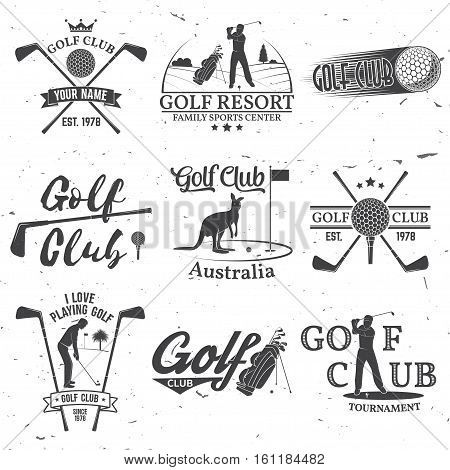 Set of Golf club concept with golfer silhouette. Vector golfing club retro badge. Concept for shirt, print, seal or stamp. Typography design.