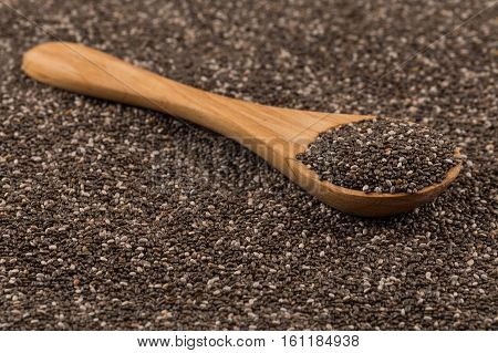 Chia Seeds In Wooden Spoon