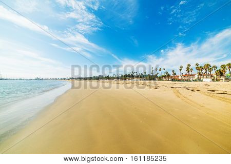 Golden shore in Santa Barbara in California