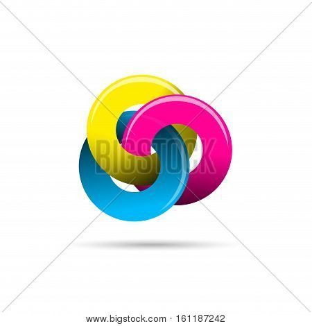 Vector sign crossed circles CMYK colours, isolated illustration