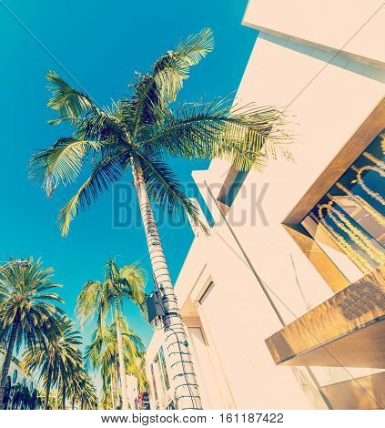 a blue sky over Rodeo drive California