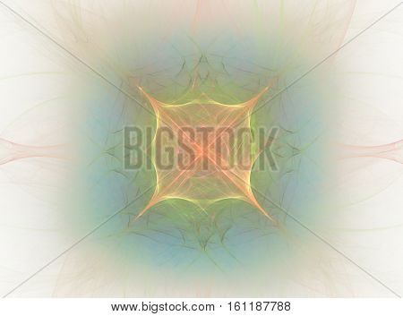 3D Rendering With Colorful Glowing Abstract Fractal In Shape Of A Flower With Aura