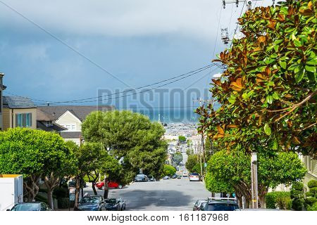 San Francisco bay seen from the city California