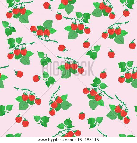 Summer seamless pattern with berries and leaves of wild raspberries vector illustration