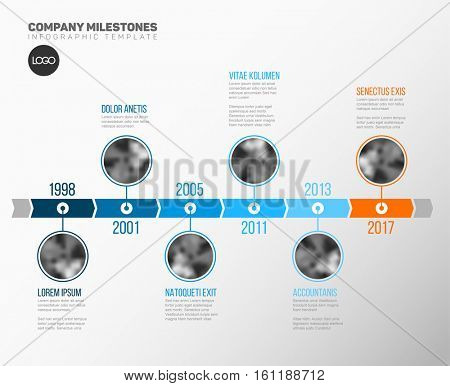 Vector Infographic Company Milestones Timeline Template with circle photo placeholders on a blue time line