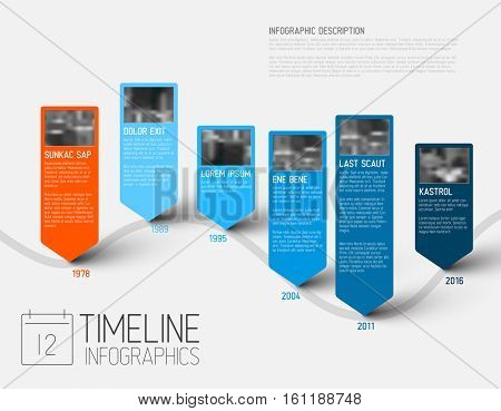 colorful Infographic typographic timeline report template with the biggest milestones, photos, years and description - blue version
