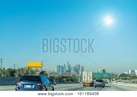 Sun shining over Interstate 5 in Los Angeles California