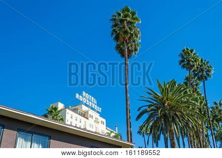 LOS ANGELES CALIFORNIA - NOVEMBER 2 2016: Roosevelt Hotel in Hollywood boulevard
