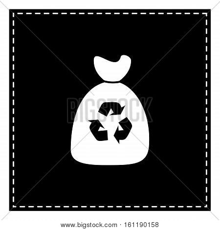Trash Bag Icon. Black Patch On White Background. Isolated.