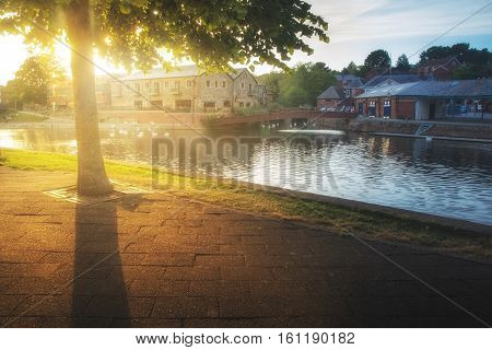 Sunset on the river Exe embankment. Exeter. England