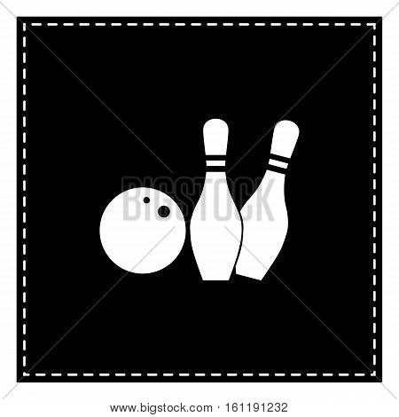 Bowling Sign Illustration. Black Patch On White Background. Isol