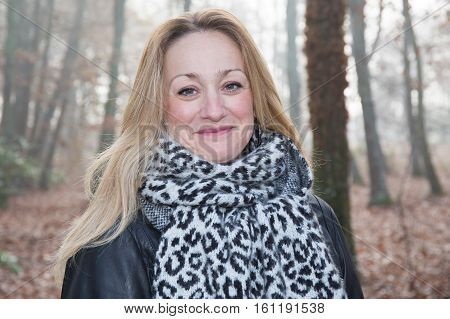 In Autumn, Portrait Of Pretty Forties Woman In Outdoor Park