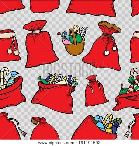 Seamless pattern Christmas decorations gifts bags with sweets. Print for the new year party. Vector Wallpaper