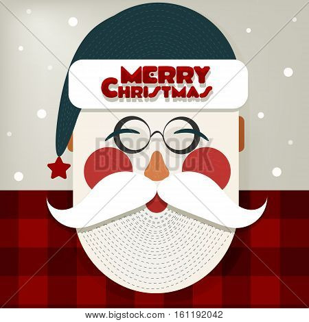 Jolly Santa wishes Merry Christmas and snow