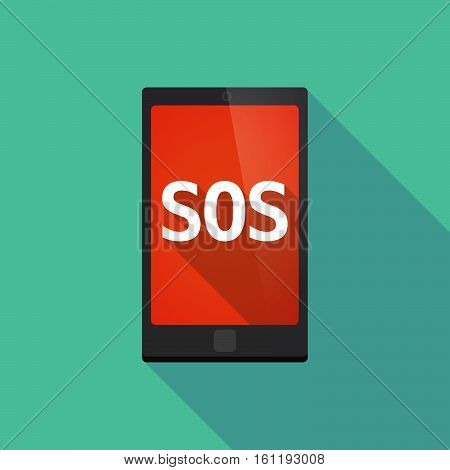 Long Shadow Smart Phone With    The Text Sos