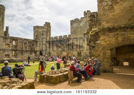 BODIAM, UK - 1 MAY, 2016:  Bodiam Castle 14th-century moated fortification with lots of tourists.