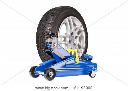 Blue car Floor Jack with whell isolated on white background.