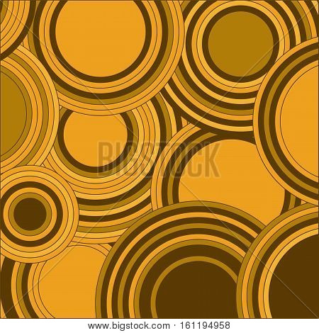 Circles yellow color abstract background. Geometrical decorative round shapes retro motif. Vector illustration.
