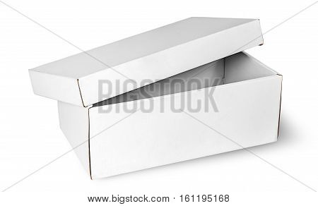 Ajar empty white box with lid isolated on white background