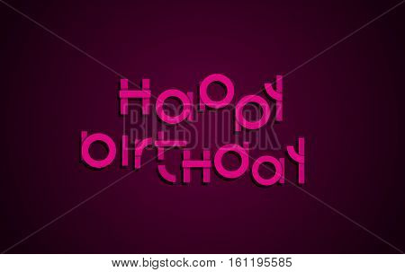 Happy Birthday festive text. Dark background with light pink letters banner design. Vector birthday greeting card illustration.
