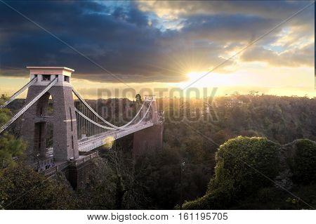 Sunset at Clifton Suspension Bridge, Bristol England
