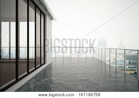 Close up of concrete balcony in modern building. Dull city background. 3D Rendering