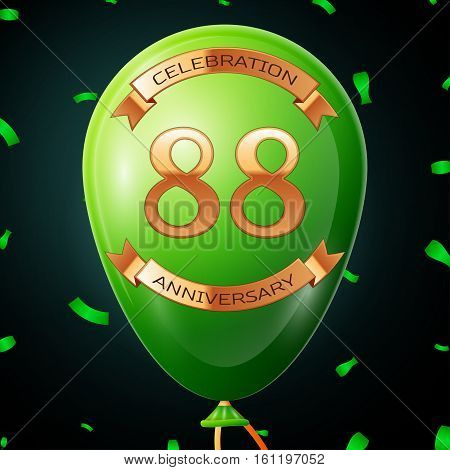 Green balloon with golden inscription eighty eight years anniversary celebration and golden ribbons, confetti on black background. Vector illustration