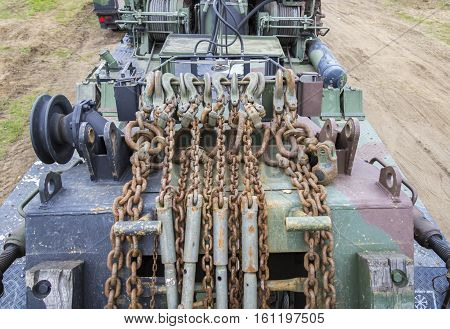 hooks on a chain on a german military transport truck